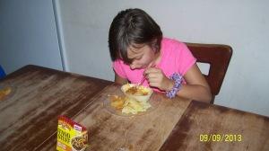 Here is Miss Emily enjoying her dinner