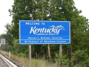 The Kentucky welcome sign on I 75 northbound